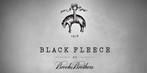 "This modern take on the Golden Fleece logo is from Thom Browne's ""Black Fleece"" capsule collection for Brooks Brothers."