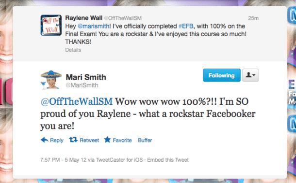 Mari's Facebook Rockstar Tweet