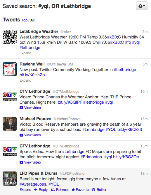 Screenshot of #Lethbridge OR #YQL search on Twitter - May 10