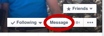 Message icon button on Facebook