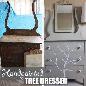 Handpainted Tree Dresser by Of Houses and Trees | Before and after of a DIY furniture refinishing project featuring a dresser with a handpainted tree.
