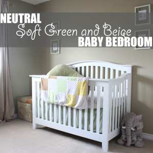 Neutral Baby Bedroom by Of Houses and Trees | A neutral baby bedroom using soft green and beige creates a soothing, relaxing space for both the baby - and the parents!
