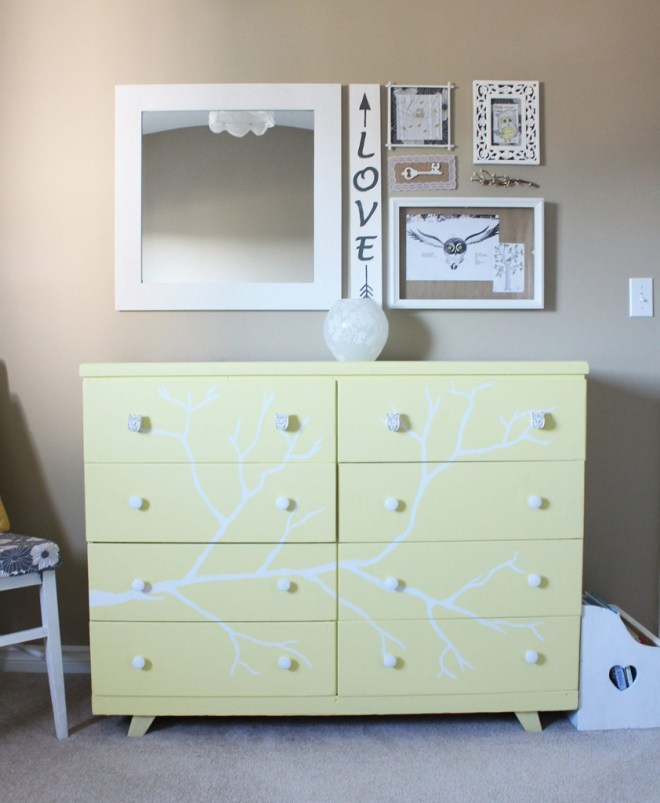 Yellow and White Tree Dresser | www.ofhousesandtrees.com