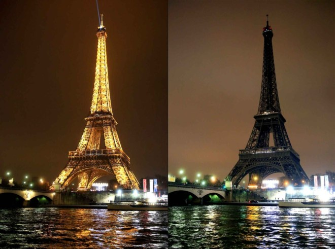 One of the world's most famous Earth Hour activities is lights out at the Eiffel Tower.