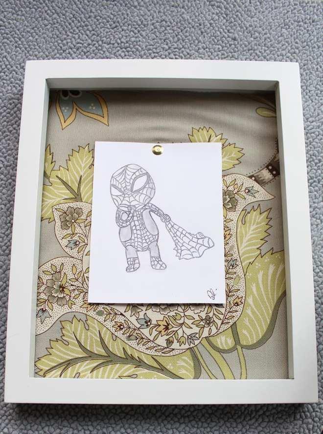 Hand drawn baby superhero art - Baby Spiderman.