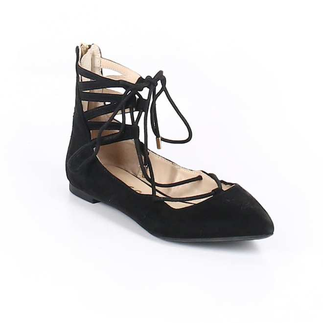 Create customized second hand Halloween costumes with items you can add to your regular wardrobe and wear again! Like these black lace up flats, which would be perfect for a modern ballerina costume.