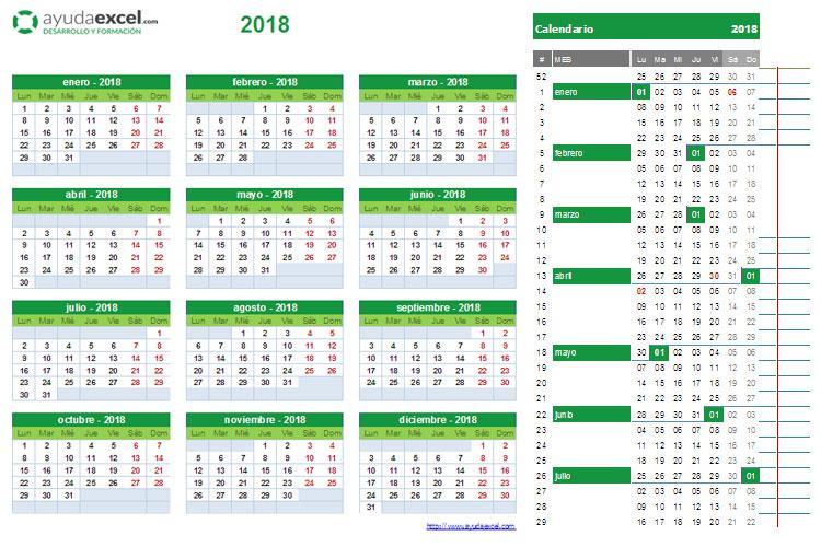 Calendario 2018 para imprimir y editar descarga formatos en Excel