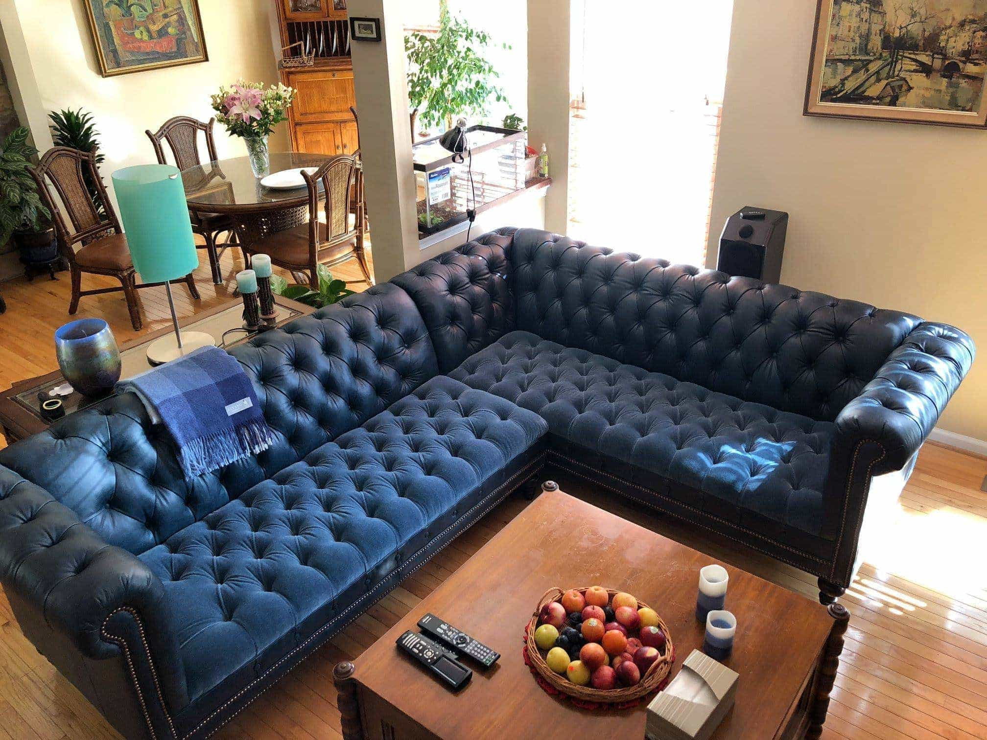 Custom Navy Blue Velvet Leather Chesterfield Sofa With Tufted Seat Of Iron Oak