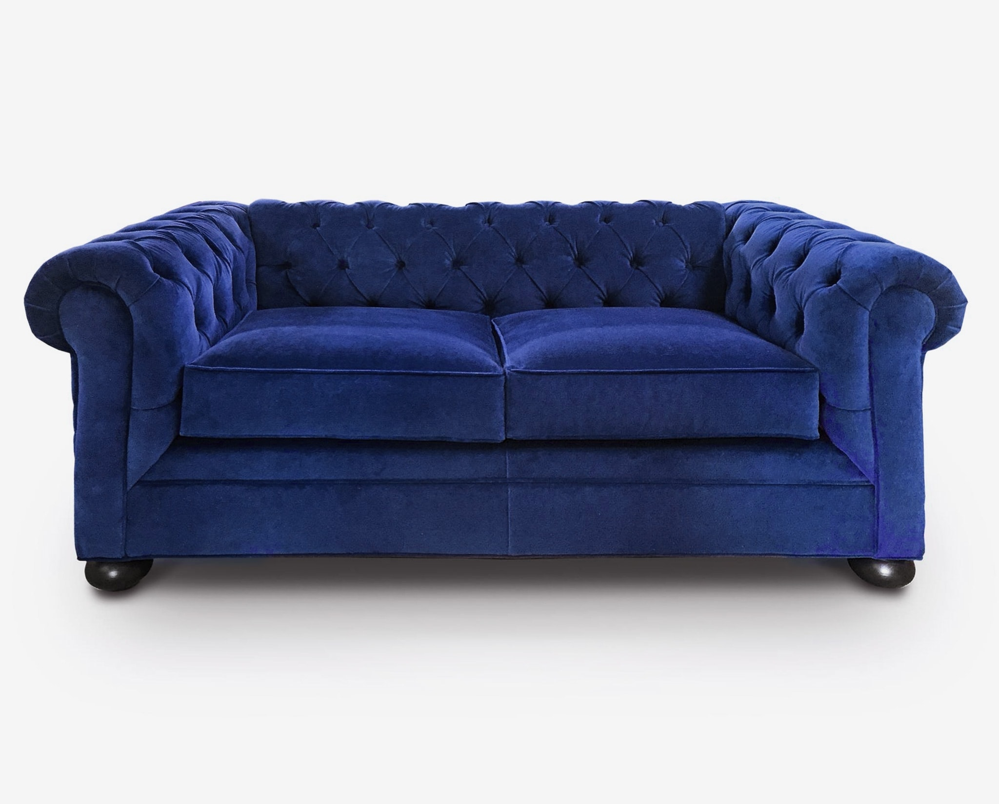 Irving Traditional Chesterfield Sofa In Custom Sapphire Blue Velvet Of Iron Oak