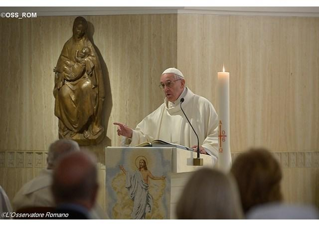 Pope Francis at Mass in Santa Marta chapel speaking about resistance to the surprises of the Spirit