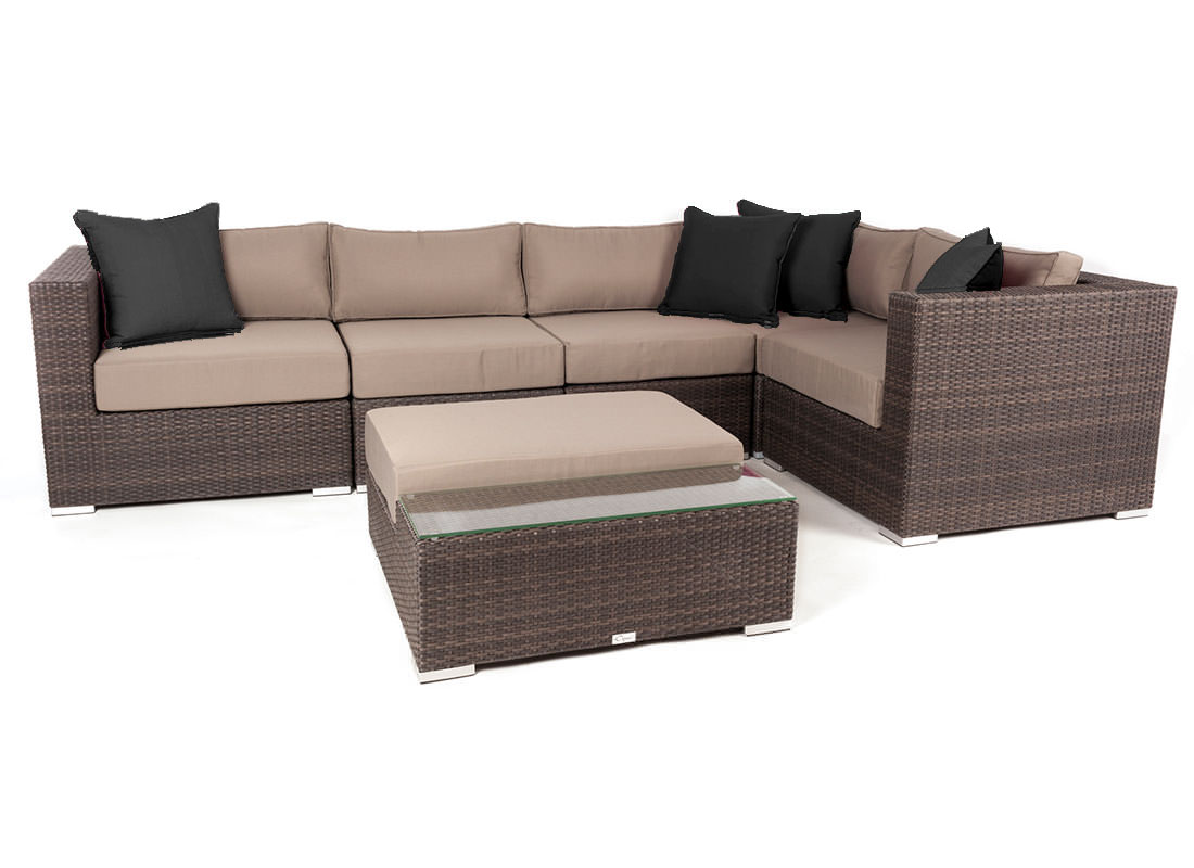 Modular Furniture Liana 6 Piece Modular Patio Furniture Sectional Set Ogni