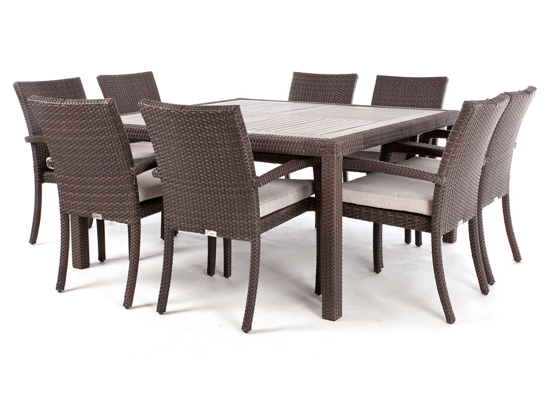 Table Carre 8 Personnes Nico Square Wood Top Patio Dining Table For 8 People