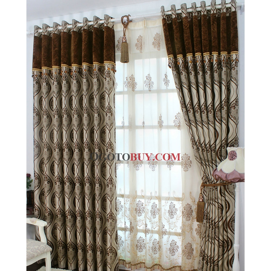 Where Can I Buy Cheap Curtains Chocolate Polyester Curtains Of Floral Printed Jacquard Buy