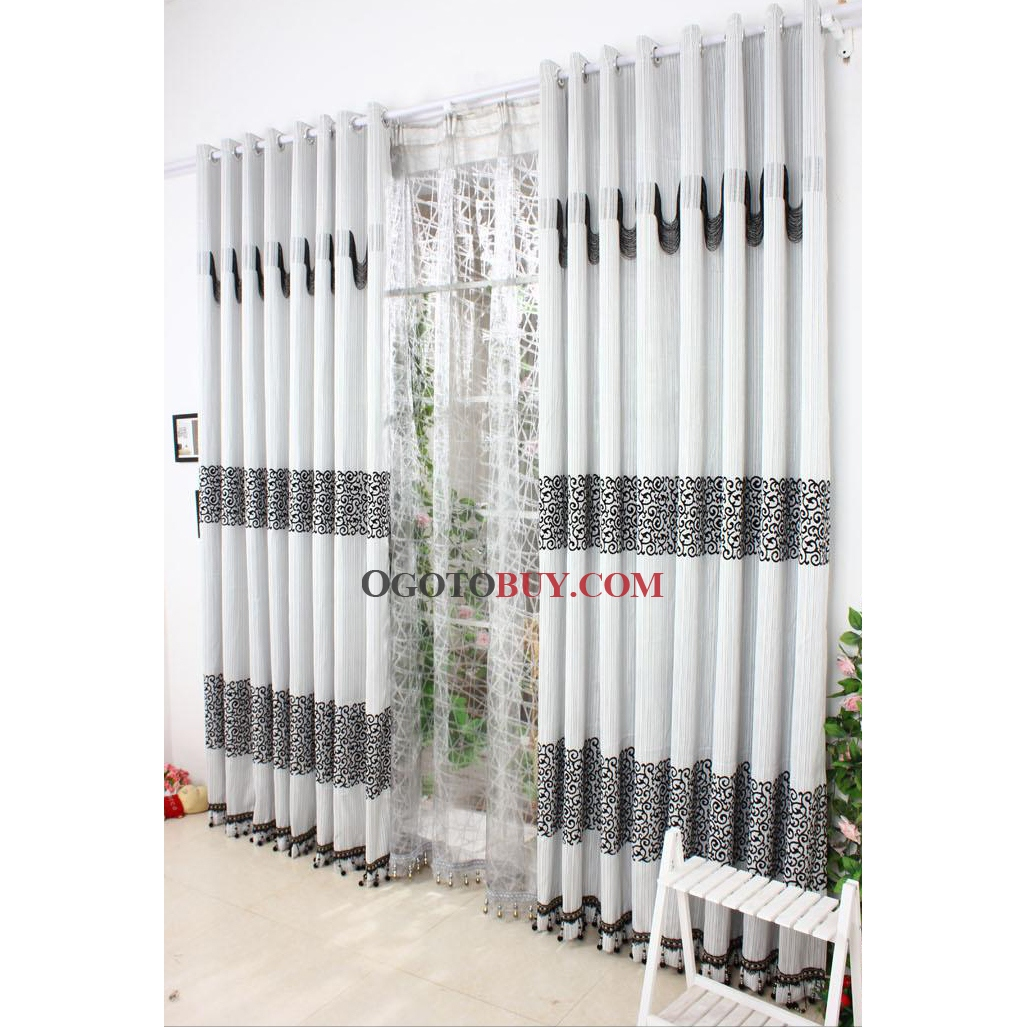 Grey Thermal Curtains Elegant Grey Printed And Jacquard Curtain With Blend Materials