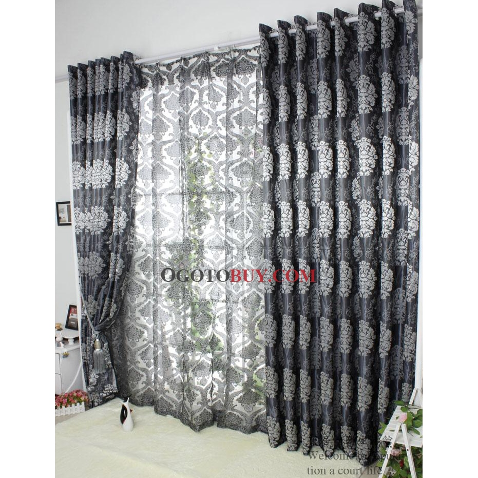 Grey Thermal Curtains Luxurious Printed Jacquard Grey Polyester Blend Thermal Curtains