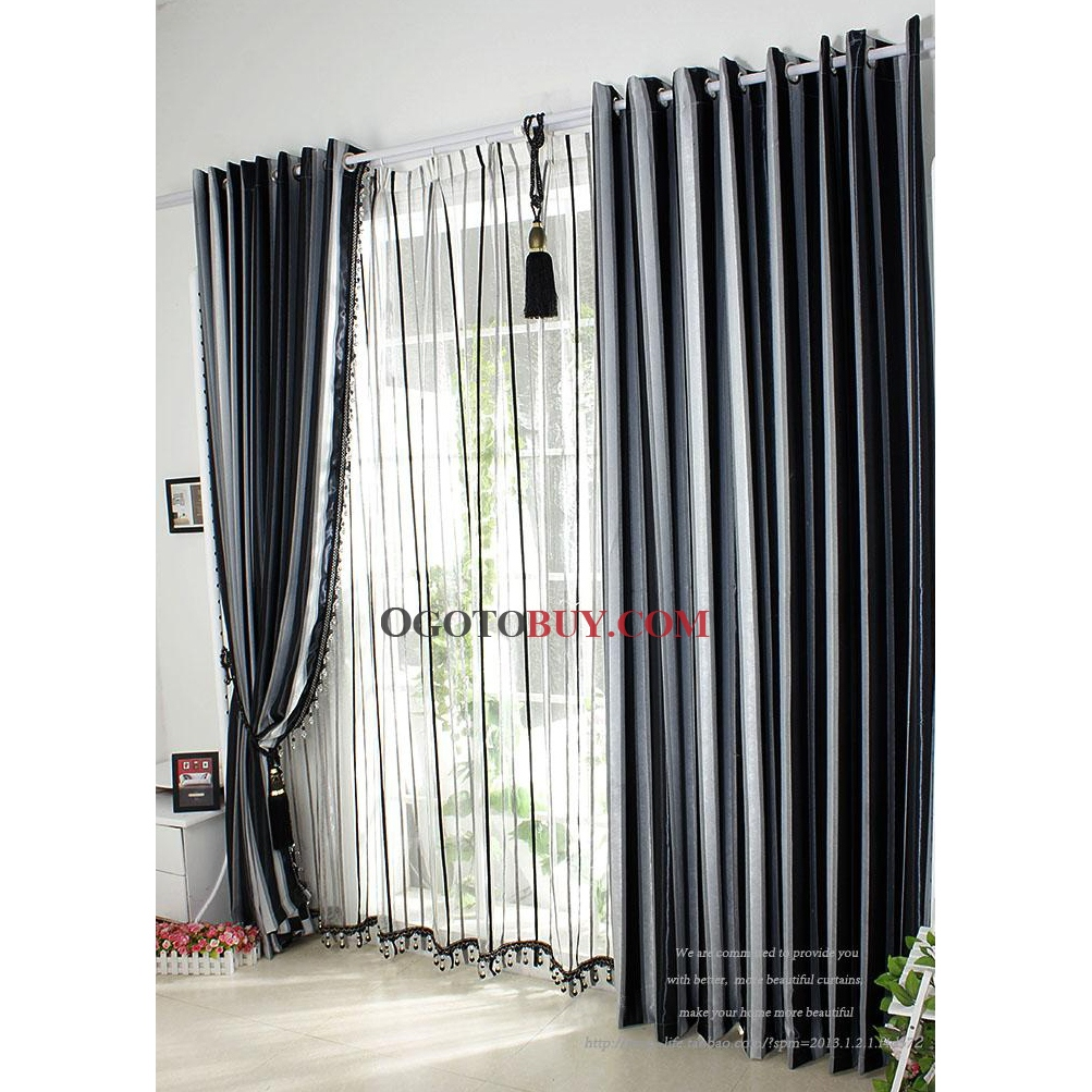 Buy Draperies Beautiful Modern Black And White Striped Jacquard Blackout