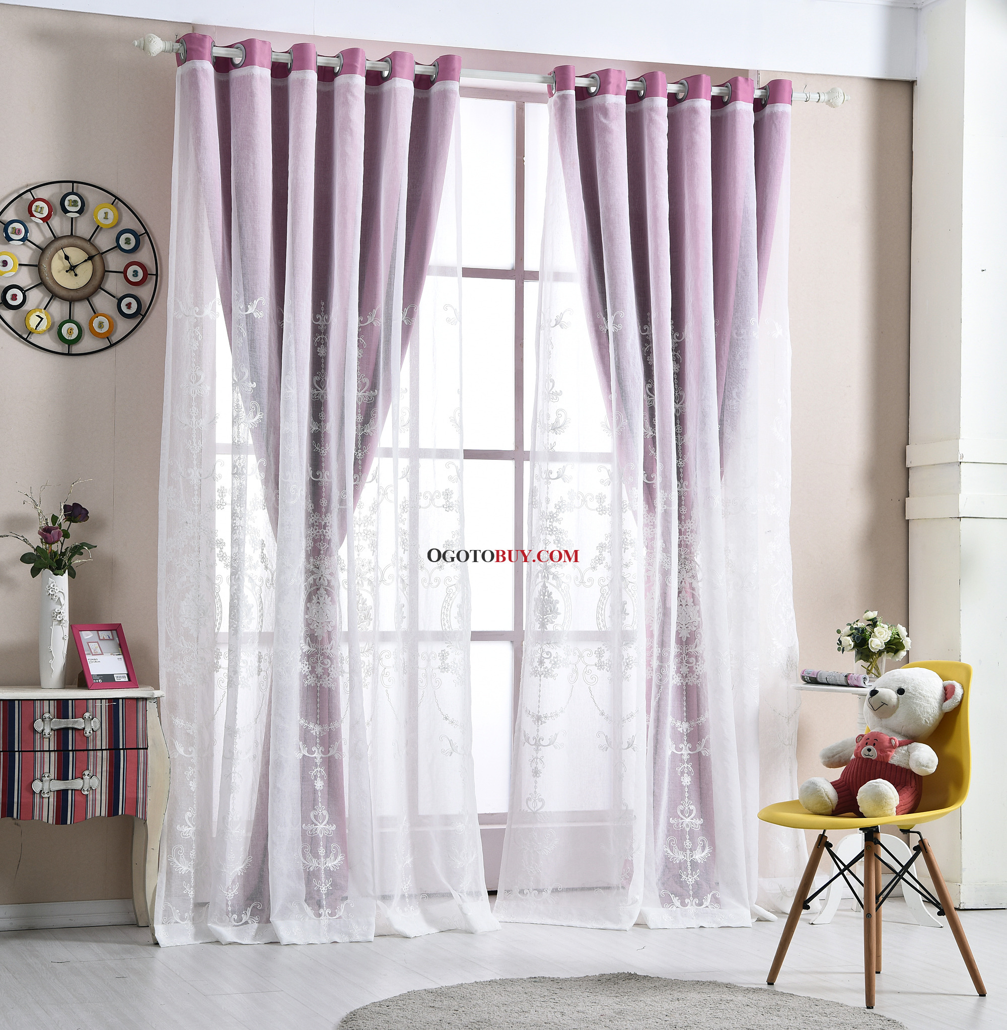 Bedroom Curtains Sale Purple Floral Print And Embroidery Elegant Polyester Curtains For