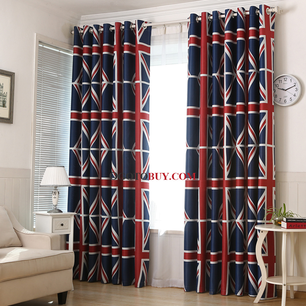 Bedroom Curtains Sale Navy Blue Striped Print Polyester Insulated Custom Bedroom