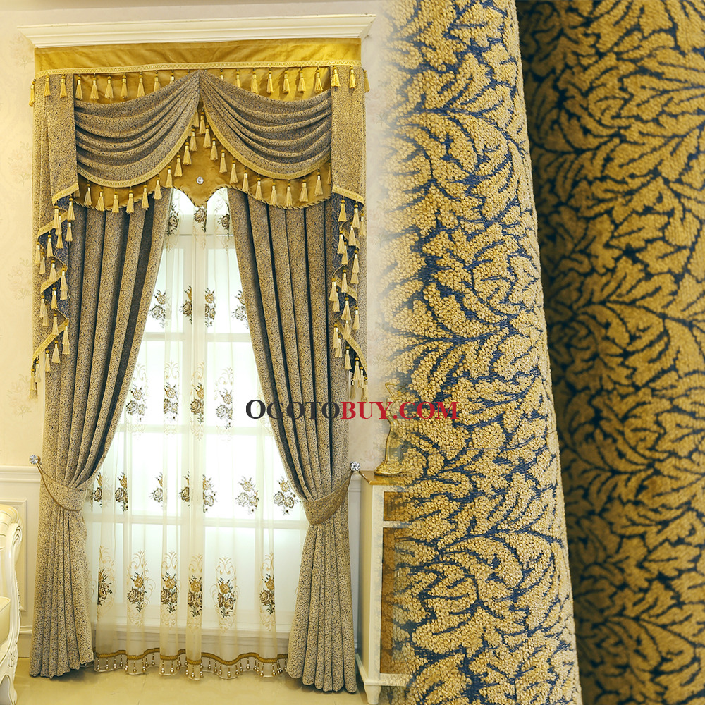 Bedroom Curtains Sale Yellow Jacquard Chenille Thermal Custom Bedroom Curtains Without