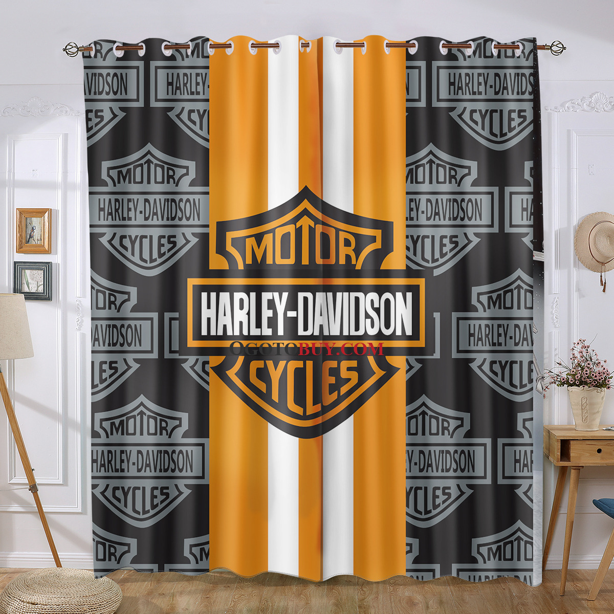 Cheap Stylish Curtains Harley Davidson Cool Curtains Black And Orange Alphabet Stylish