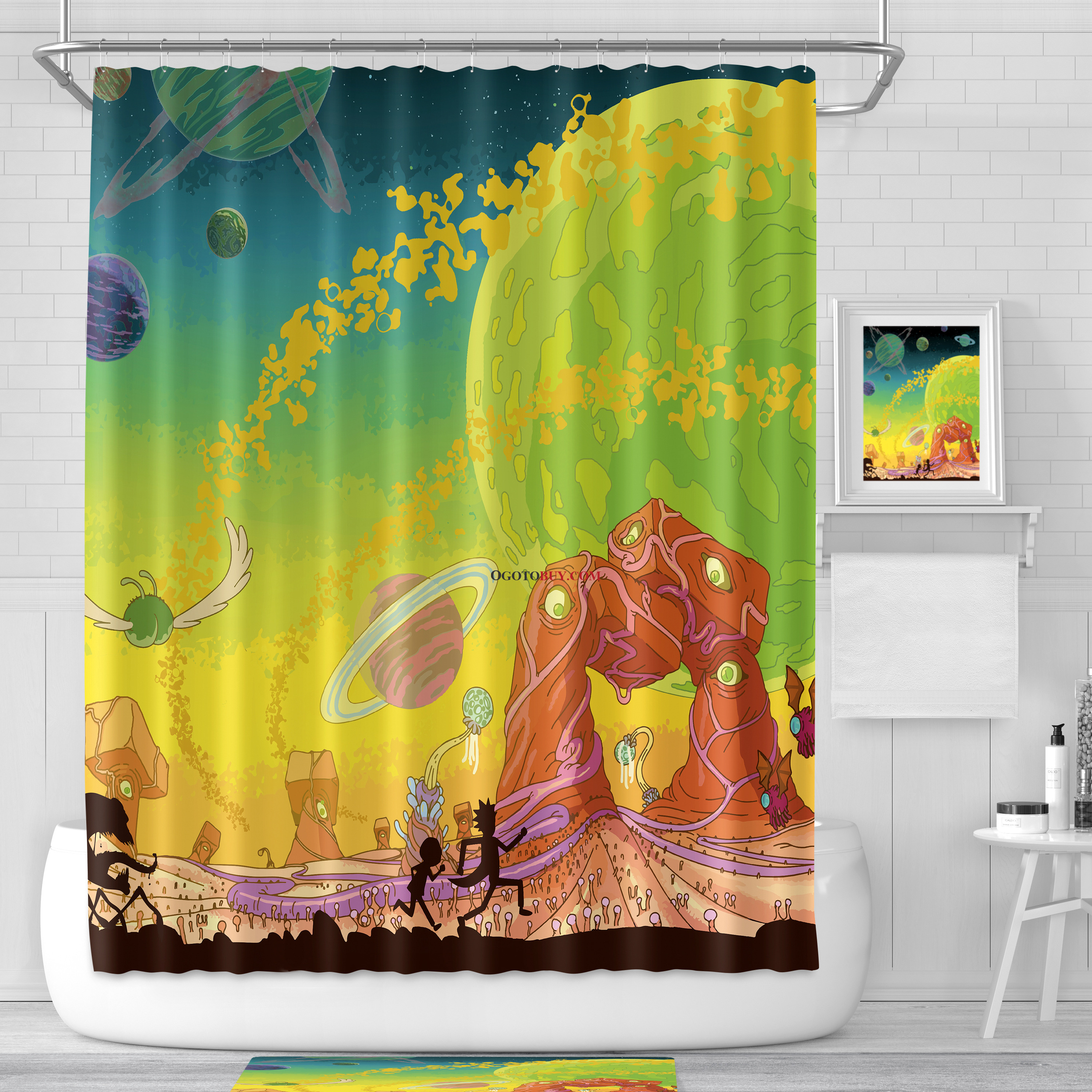 Buy Shower Curtains Online Rick And Morty Cartoon Teen Space Funny Shower Curtains Planet