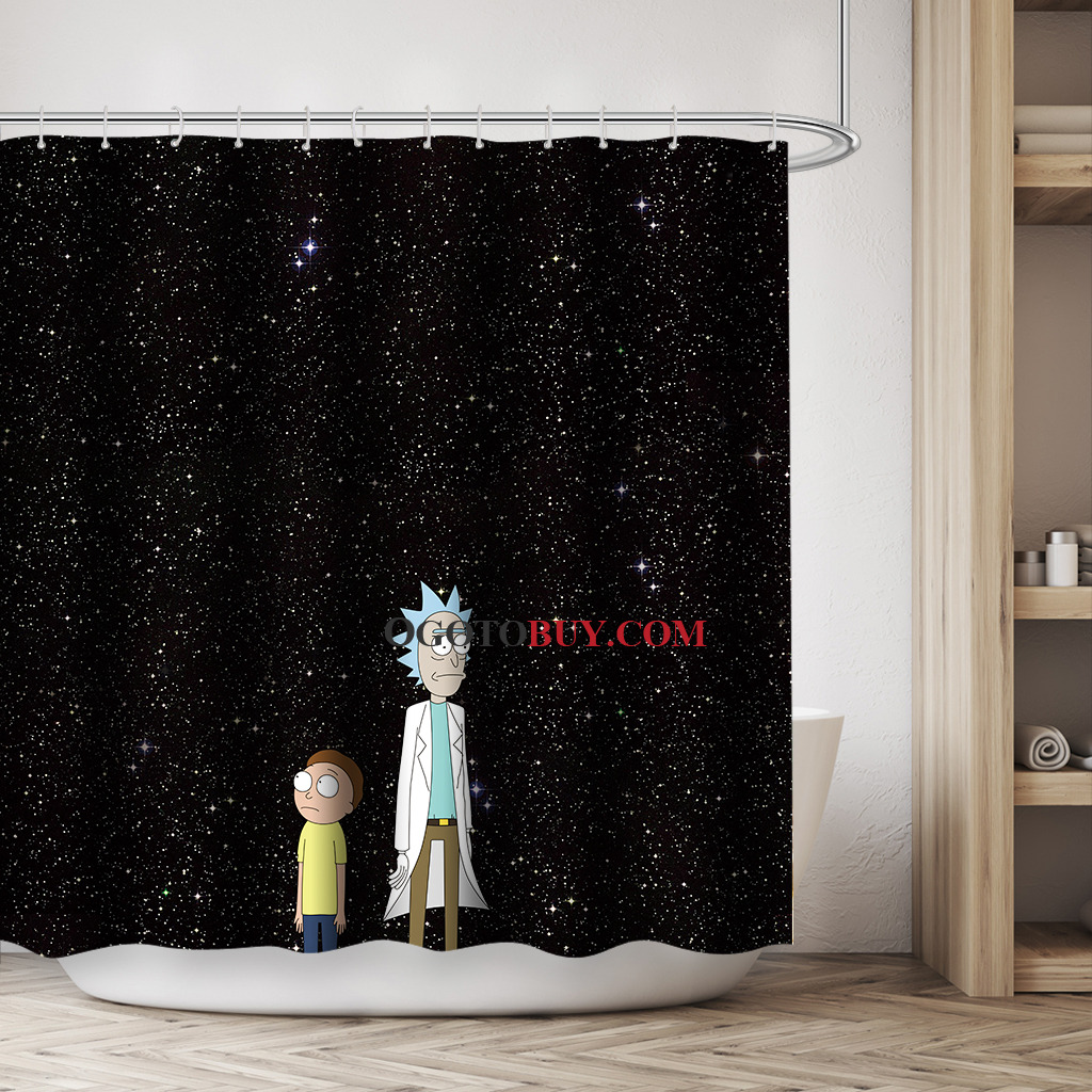 Designer Duschvorhang Rick And Morty Star Cartoon Teen Space Funny Shower Curtains Black