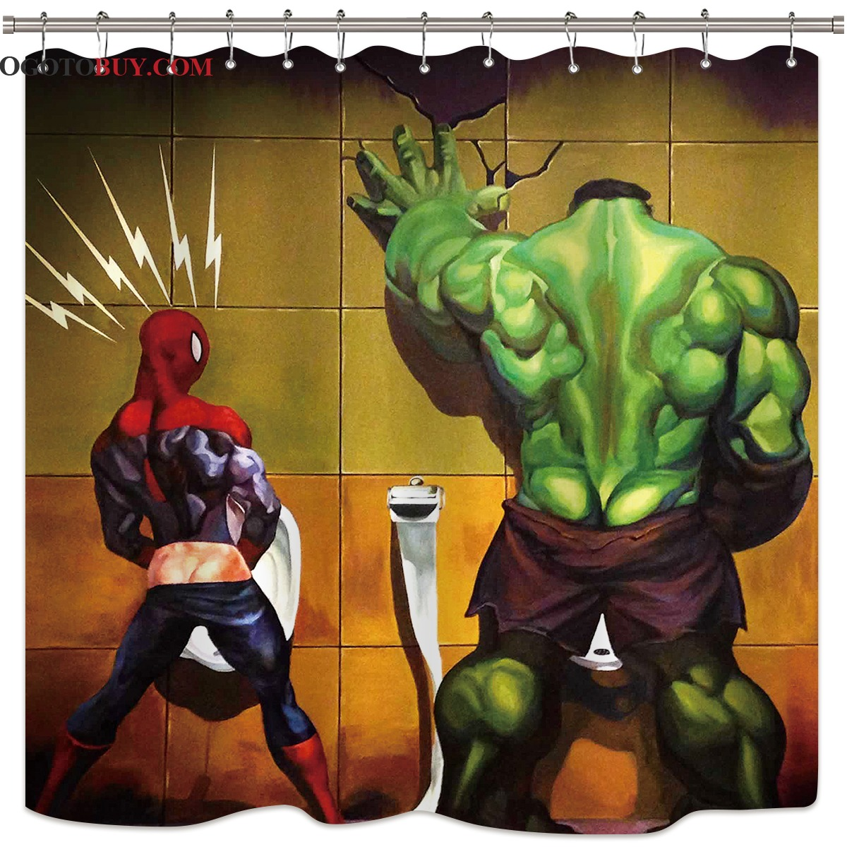 Buy Shower Curtains Online Fashionable Marvel Superhero Green Hulk Bathroom Shower Curtain