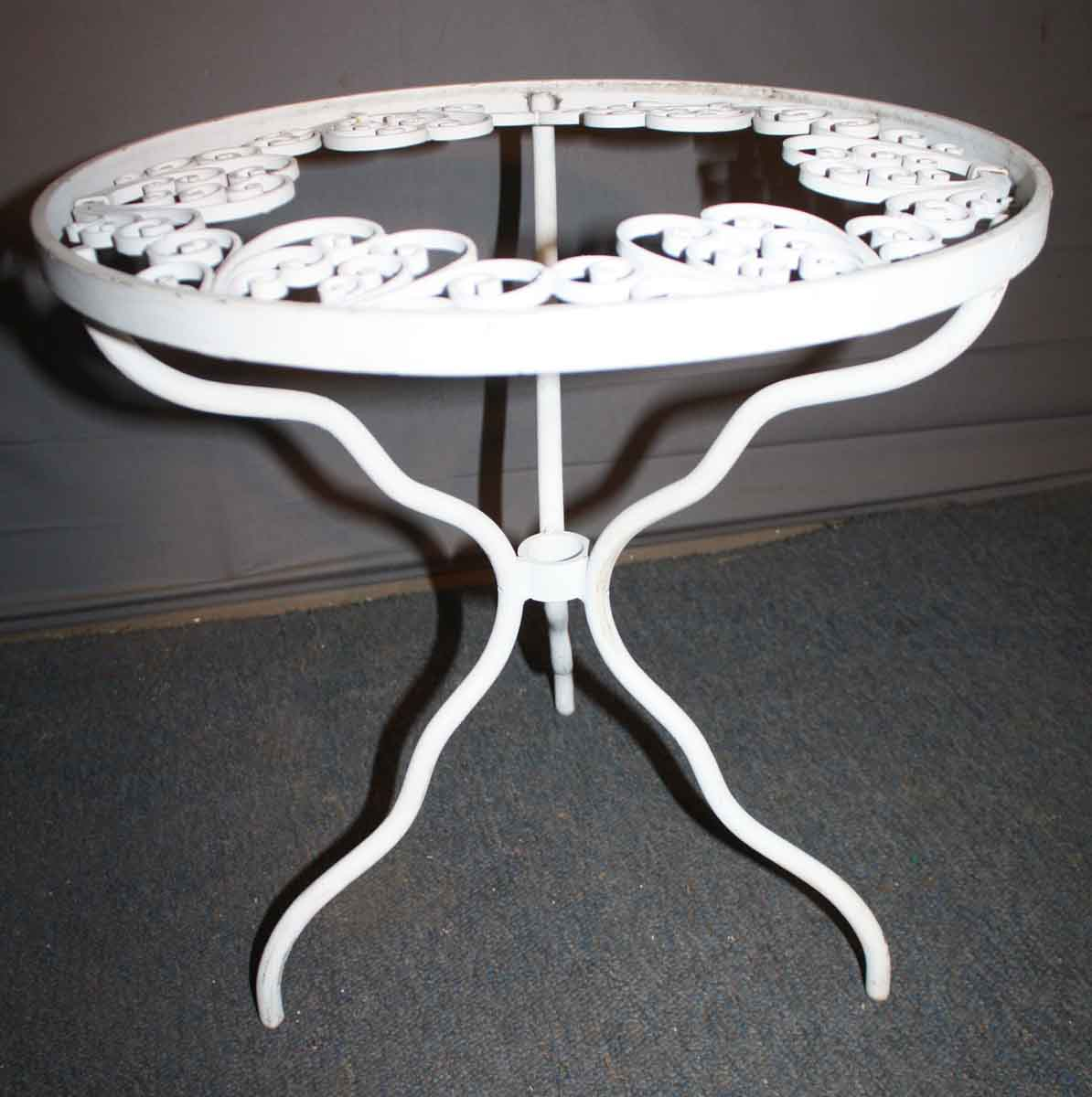 White Metal End Table Outdoor White Metal Round Side Table Olde Good Things
