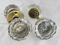Antique Extra Large Fluted Glass Door Knob Set with ...
