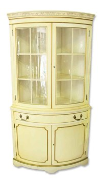 French Country Corner Cabinet with Curved Glass Front ...