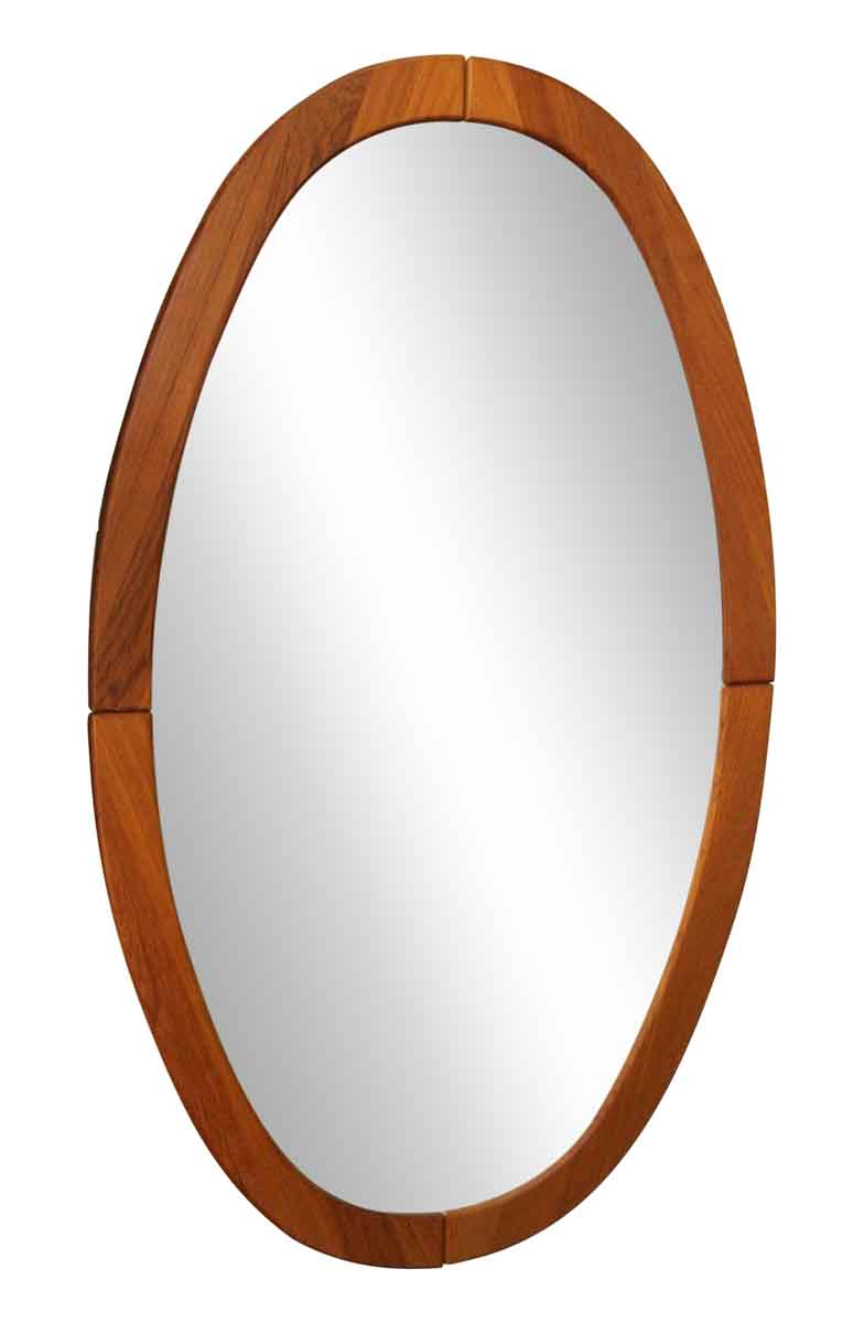Oval Mirror Wood Frame Mid Century Oval Wooden Framed Mirror
