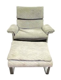 Mid Century Plush Upholstered Chair with Ottoman | Olde ...