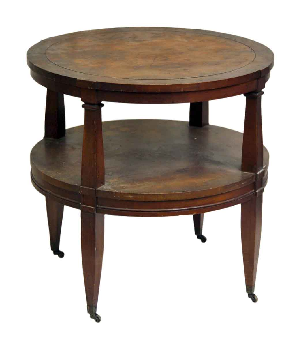 Round Coffee Table On Wheels Round Wood Coffee Table On Wheels Olde Good Things