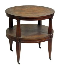 Round Wood Coffee Table on Wheels | Olde Good Things