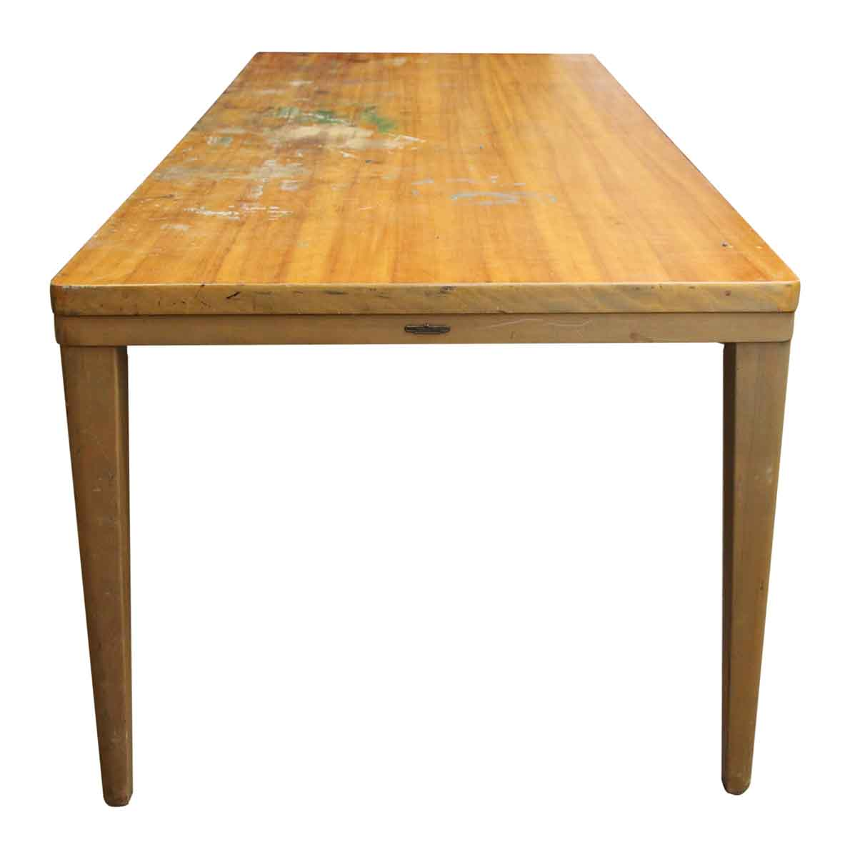 Long Wood Desk Long Wooden Remington Rand Table Olde Good Things
