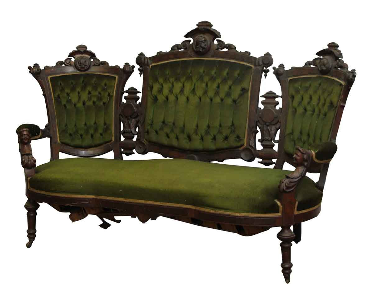 Green Settee Carved Pottier And Stymus Mahogany Victorian Green Velvet