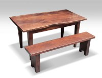 Live Edge Solid Walnut Farm Table & Bench | Olde Good Things