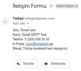 Gmail SMTP Form