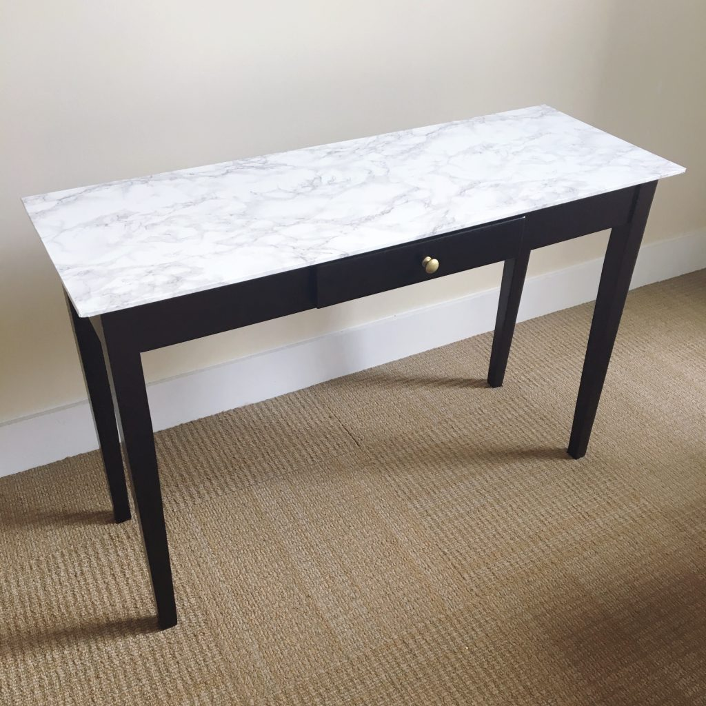 Contact Paper For Furniture Diy Table Makeover With Marble Contact Paper Omc Blog