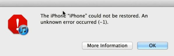 Error (-1) iTunes