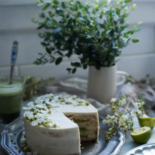 coconut, lime and matcha cake with white chocolate buttercream