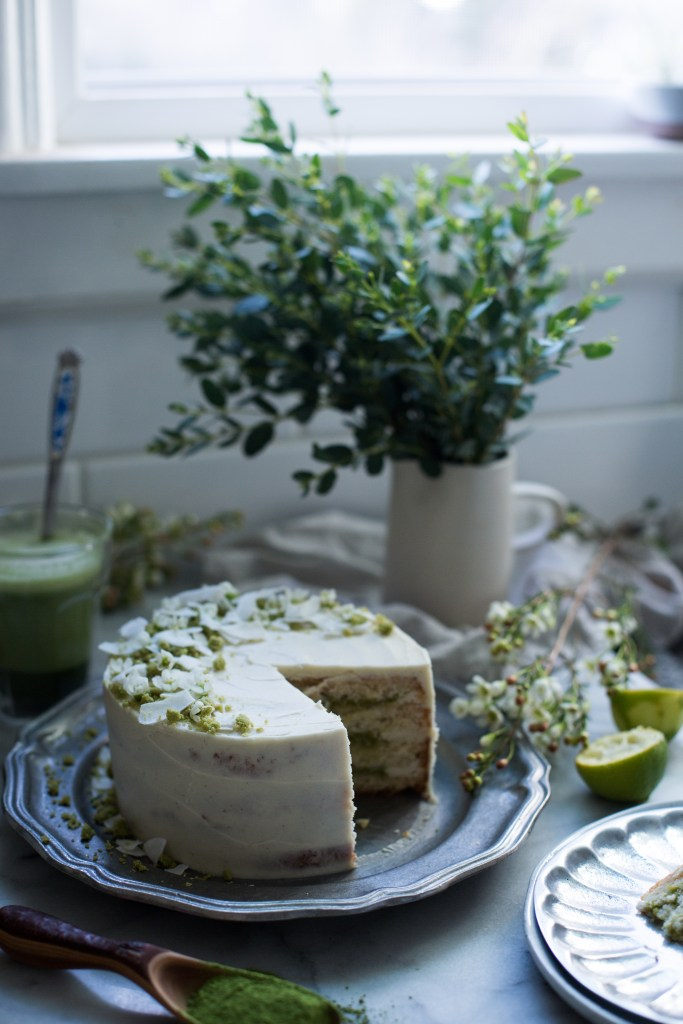 coconut, lime and matcha cake with white chocolate buttercream // ohhoneybakes.com
