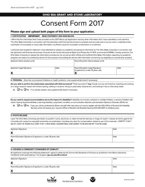 2017 Consent Form Ohio Sea Grant