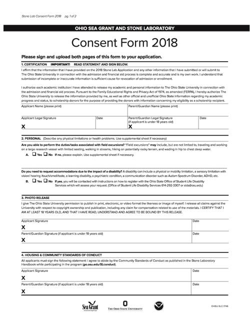 2018 Consent Form Ohio Sea Grant