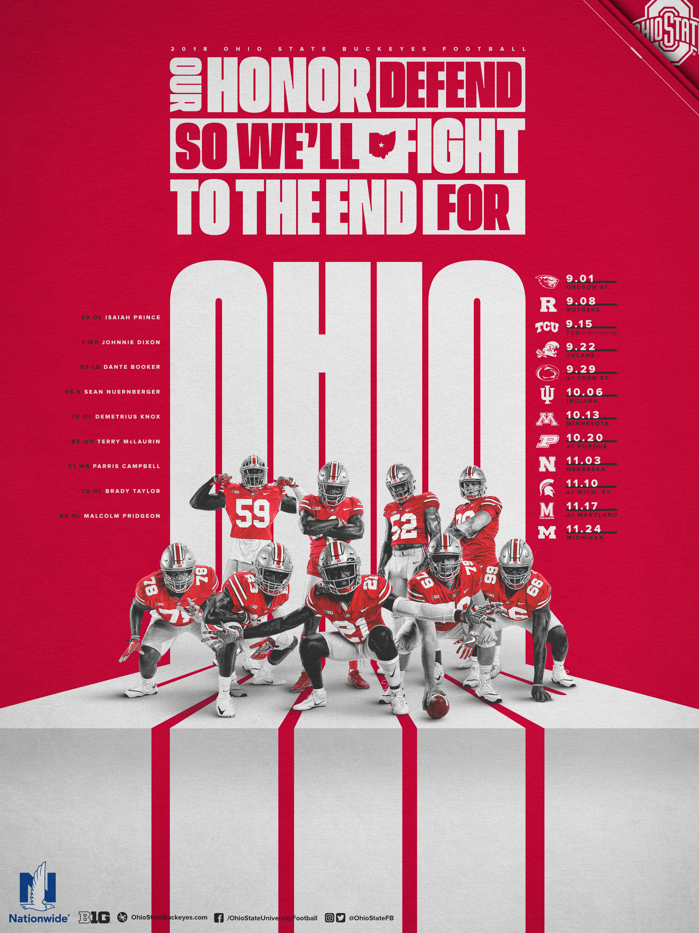 Poster Red Schedule Posters Ohio State Buckeyes