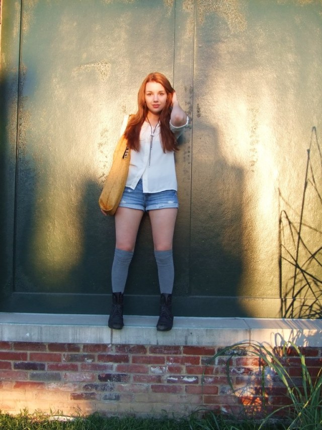 Bolo Tie Necklace with Cut Offs and Cream Blouse (4)