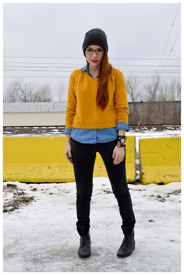 May28thWatches-w-MustardSweater-BlackJeans-Boots-Beanie (1)
