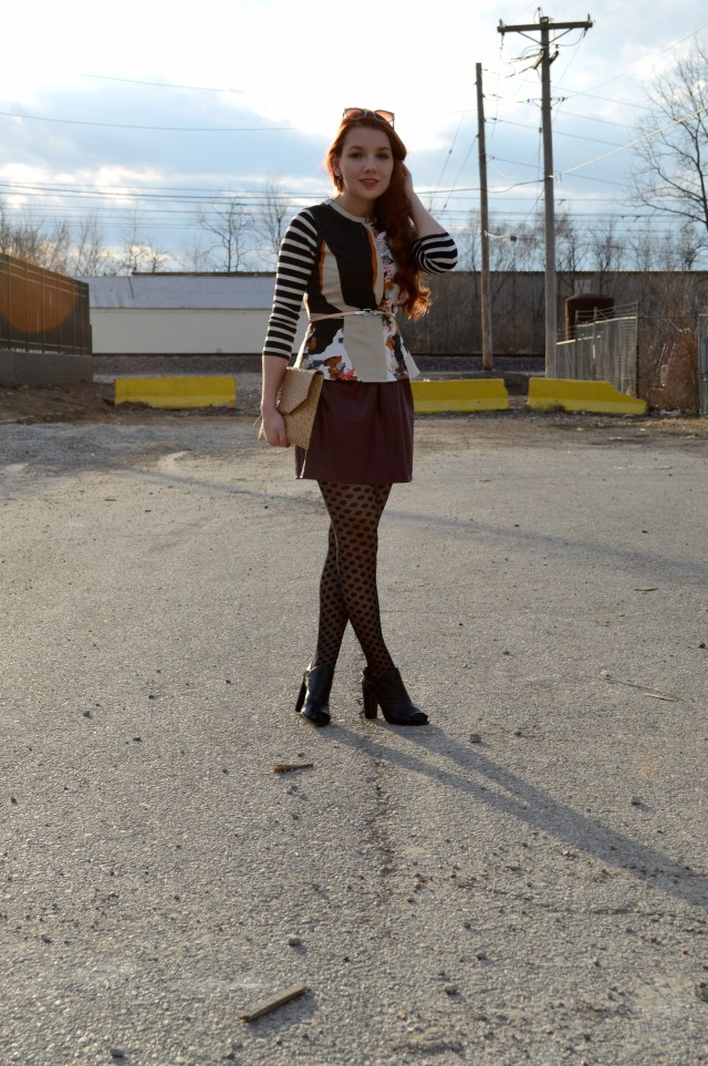 Black Peep Toe Bootie with Vegan Leather Skirt Polka Dot Tights Stripes Print Mixing Outfit (2) r