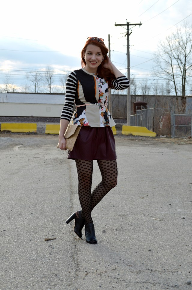 Black Peep Toe Bootie with Vegan Leather Skirt Polka Dot Tights Stripes Print Mixing Outfit (7) r
