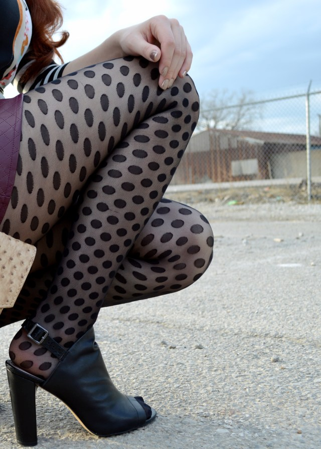 Black Peep Toe Bootie with Vegan Leather Skirt Polka Dot Tights Stripes Print Mixing Outfit (9) r